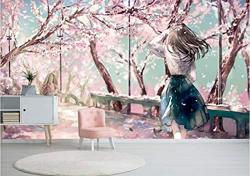 Carta Da Parati Autoadesiva 3D 300 * 210Cm Ragazza Giapponese In Fiore Di Ciliegio Rosa Anime Giapponeseadesivi Murali 3D Ragazza Ragazzo Bambino Decorazione Di Sfondo Della Parete Arte Poster Regalo