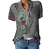 Große Größe Blusen Damen Elegante V-Ausschnitt Blumen Bluse Kurzarmshirt Sommer Casual Lose Tunika Top Hemd mit Knopfleiste Blusenshirt Tasche T-Shirt Oberteile(EUR-46/CN-4XL,Grau)