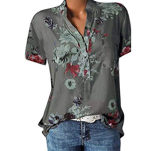 Große Größe Blusen Damen Elegante V-Ausschnitt Blumen Bluse Kurzarmshirt Sommer Casual Lose Tunika Top Hemd mit Knopfleiste Blusenshirt Tasche T-Shirt Oberteile(EUR-42/CN-2XL,Grau)
