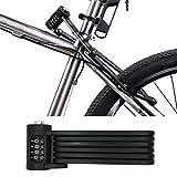 FLYDEER Universal Folding Bike Lock Steel Portable Chain Lock Heavy Duty 6 Joints Bicycle Lock Anti-Theft Bike Password Lock with Storage Mounting