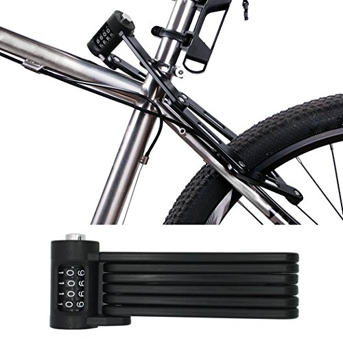 FLYDEER Universal Folding Bike Lock Steel Portable Chain Lock Heavy Duty 6 Joints Bicycle Lock Anti-Theft Bike Password Lock