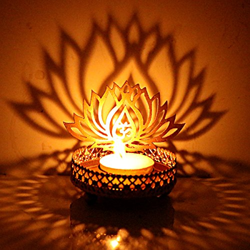Hashcart Shadow Lotus Design Tealight Candle Stand | Holder Table Decorative Candle Holders