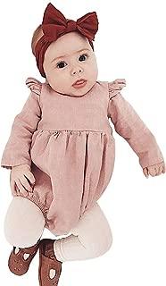 Baby Onesies Unisex Cotton Linen Handmade Romper Jumpsuit Solid Color Long Sleeve Jumpsuit