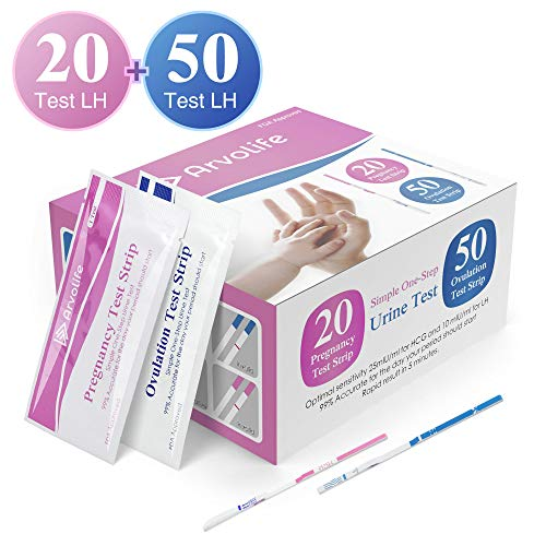 Ovulation Test Strips and Pregnancy Test Strips Kit Arvolife Reliable 50 LH Tests and 20 hCG Tests Combo Ovulation Pregnancy Predictor Kit