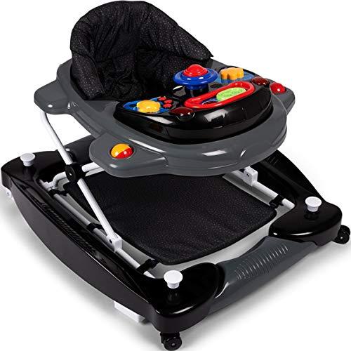 2IN1 Lauflernhilfe/Babyschaukel mit Spielcenter (12 Melodien) und Einlage (PUNKTE SCHWARZ)