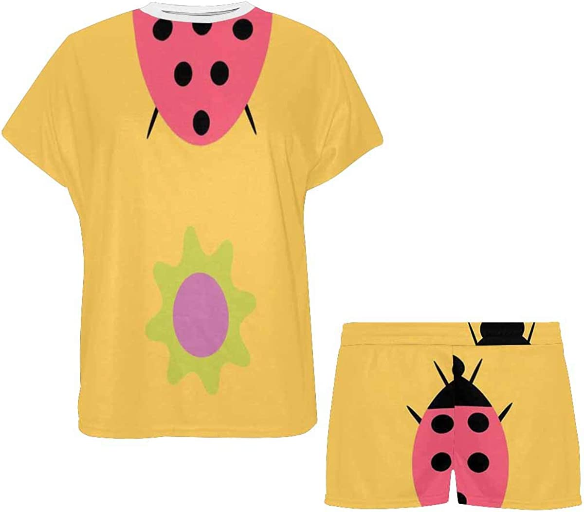 INTERESTPRINT Ladybugs with Flowers Pattern Women's Lightweight Pajama Set, Short Summer Pjs