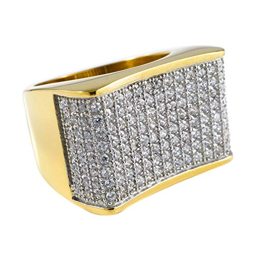 NIV'S BLING Concave Simulated Diamond Ring Iced Cubic Zirconia Band   18K White Gold and Yellow Gold Plated Stainless Steel Ring   Fashion Hip Hop Jewelry for Men and Women