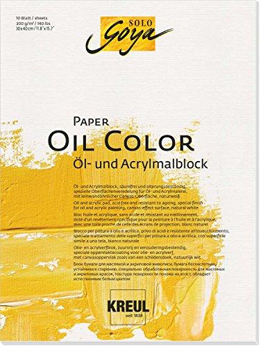 Kreul 68022 - Solo Goya Paper Color, Öl und - Acrylmalblock, ca. 30 x 40 cm, 300 g/qm, 10 Blatt, säurefrei und alterungsbeständig, naturweiß, leinwandähnliche Oberfläche für Öl- und Acrylfarben