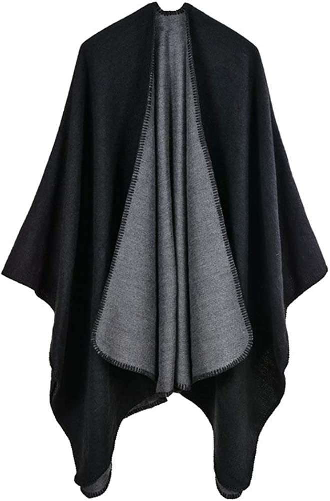 Whlia Knitted Shawl Wrap for Women Winter Warm Large Poncho Sweater Thick Blanket