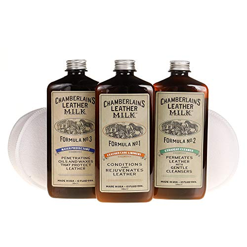 Leather Milk Leather Restoration Kit. Leather Cleaner, Conditioner, and Water Protector - No. 1-3...