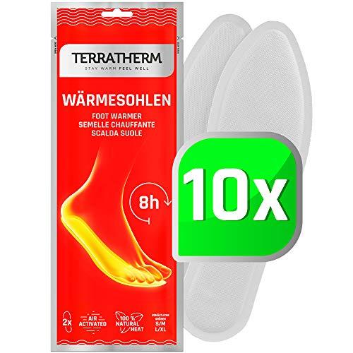 TerraTherm Sohlenwärmer- 10 Paar XL, Wärmesohlen für Schuhe Aller Art, Schuhwärmer Einlagen, 100% natürliche Wärme, Wärmeeinlagen für Schuhe, Fußwärmer Sohlen für 8h warme Füße