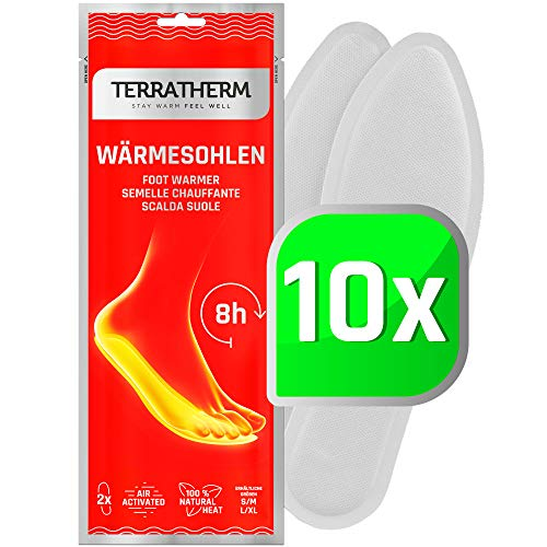 TerraTherm Scalda Suole – 10 Paia M, 100% Calore Naturale, Solette Piedi riscaldanti per 8 Ore di Calore, Solette Termiche e Scaldapiedi per Tutti i Tipi di Scarpe