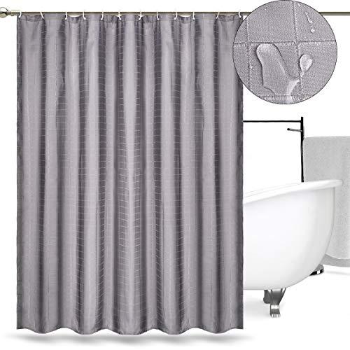 RenFox Duschvorhang Grau Polyester Stoff Anti-Schimmel Anti-Bakteriell Wasserdicht Waschbar Duschvorhänge Lang 180 x 180 cm mit 12 Duschvorhangringe für Badezimmer