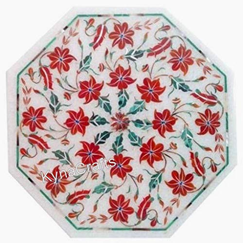 13 x 13 Inches Indian Cottage Crafts Coffee Table Top Pietra Dura Art Patio Side Table Top for Office Use