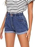 Milumia Women's High Waist Elastic Waist Rolled Hem Button Straight Leg Denim Jean Shorts Blue Large