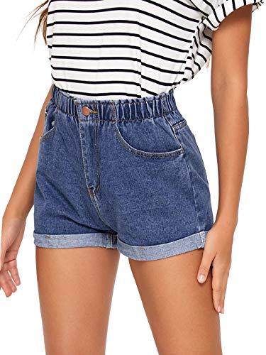 Milumia Women's High Waist Elastic Waist Rolled Hem Button Straight Leg Denim Jean Shorts Blue Medium
