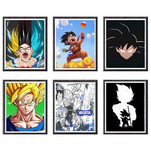 MS Fun - Cuadros de Lord de Super Saiyan y los luchadores Vegeta y Goku de Ultra Dragon Ball - Juego de 6 impresiones artísticas digitales sobre lienzo, de 20,3 x 25,4 cm, sin marco