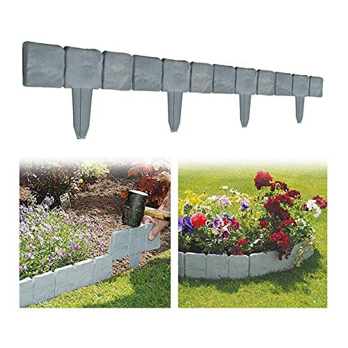 XUEER Bordure de gazon aspect pierre - Bordure de pelouse en plastique - Clôture de jardin flexible aspect pierre - Bordure de jardin pour pelouse ou terrasse (20 pièces, gris)