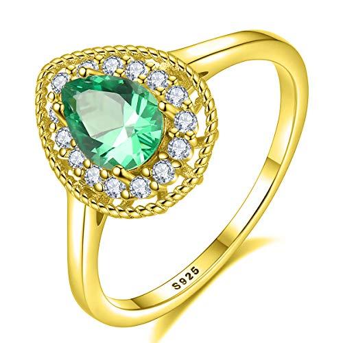 Esberry® Damen Ring aus echtem 925 Sterlingsilber – Hochwertige Zirkonia Steine – Funkelnder Grün Edelstein – Anlaufschutz & Nickelfrei – Verlobungsring Kate