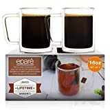 Eparé Retro Large Coffee Mugs - 16 oz Set Of 2 - Double Walled Insulated Glasses - Clear Latte & Tea Glassware