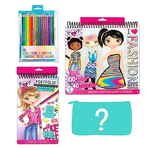 Fashion Angels Fashion Designer Essentials Art Set, Amazon Exclusive, with Colored Pencils and Sparkle Pencil Pouch
