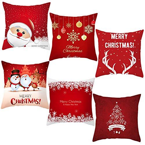 6PCS Fundas de Cojines Navidad, Funda Cojines Funda de Almohada, Cojines Navidad Algodón de Lino,Feliz Navidad Fundas Navideñas para Cojines, 45x45 cm