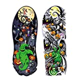 Konsait 12 Sheets Nightmare Before Christmas Large Full Arm Temporary Tattoos,Tumbler Tattoo, Temporary Sleeve Tattoos, Black Body Art Stickers Arm Tattoo For Kids Adults Halloween Party, Masquerade