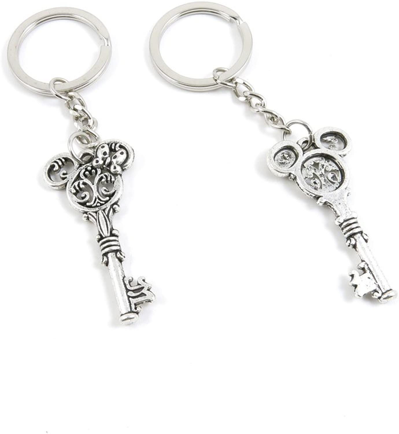 100 Pieces Keychain Keyring Door Car Key Chain Ring Tag Charms Bulk Supply Jewelry Making Clasp Findings I9IW2I Minnie Skeleton Key