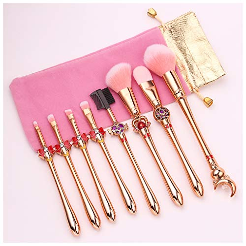 SUNWIND 8pcs Pinceau de Maquillage Set, Maquillage Sailor Moon Brosse Fondation Pinceau Fard à paupières Fard à Joues, Maquillage débutant Outil Pinceau,Rose