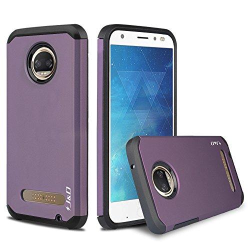 J&D Case Compatible for Motorola Moto Z2 Force Case, Heavy Duty Dual Layer Hybrid Shock Proof Protective Rugged Bumper Case for Moto Z2 Force Case, Purple