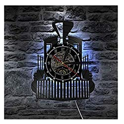 Steam Locomotive Train Wall Clock Steam Engine Vinyl Record Wall Clock Train Locomotive Watch Home Decor Train Enthusiast Gift No led