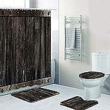 Juego de Cortina y Alfombra de Ducha de Puerta de Madera de Barril Medieval Negro Divertido Cortina de baño de Puerta de Madera 3D Impermeable con Alfombra de baño Alfombra 180X180Cm (71X71Inch)