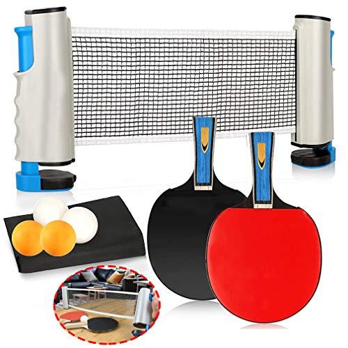 Juego De Tenis De Mesa, Ping Pong con Red De Tenis De Mesa Extensible 2 Raquetas Tenis Mesa 4 Pelotas Tenis Mesa Un Bolsillo Juego Portátil De Interior Exterior,Gris