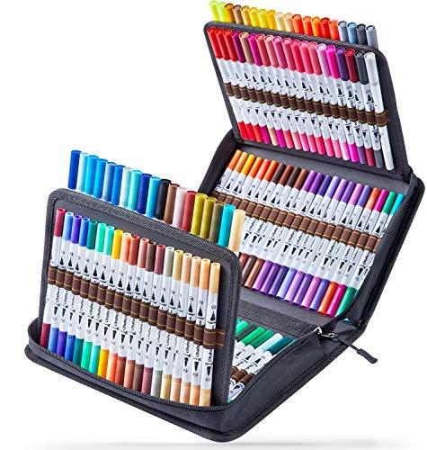 Rotuladores Ohuhu 120 Rotuladores de doble punta para colorear, dibujar o subrayar. Rotuladores para dibujos de caligrafía, bocetos, libros de colorear, ilustraciones para revistas