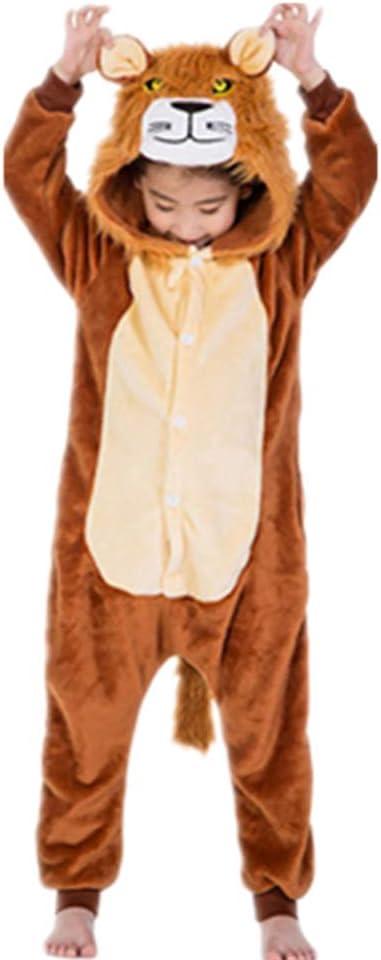 Tickos Unisexo Niños Animal Onesies Gracioso Animal Pijama Pijama Halloween Disfraces Monos (120CM, León)