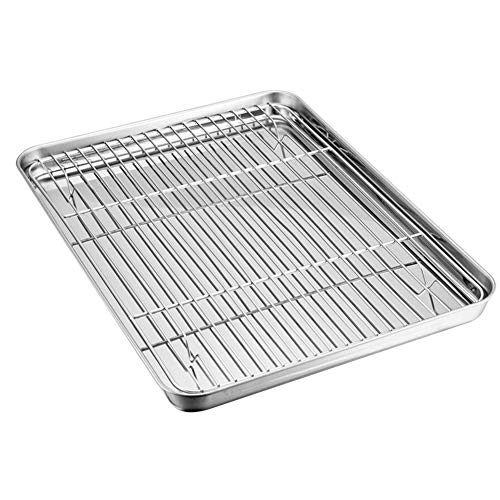 Baking Tray with Rack Set, Stainless Steel Baking Sheet Pan with Cooling Rack, Mirror Polish & Easy Clean for Kitchen Oil Drain Baking Food Cooker (26x20x2.5cm)