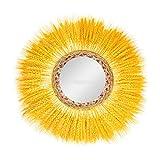 S-TROUBLE Espejo de Pared Colgante Espejo de Pared Boho Espejo de tocador Innovador Art Deco Espejo Redondo Pared de Sala de Estar con Flecos Retro