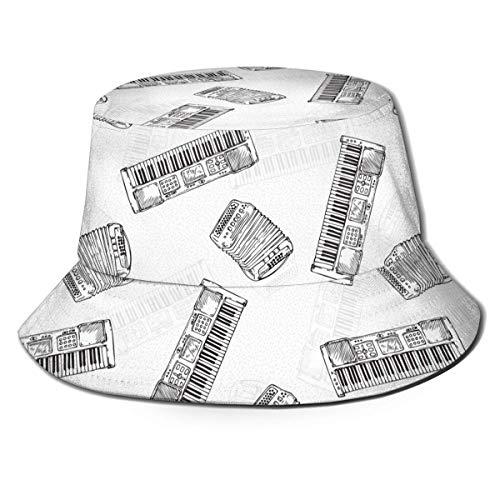 Ginger-Ale Instrumentos de Teclado Vintage Unisex Sombrero de Cubo de Viaje con impresión en Blanco y Negro Sombrero de Pescador de Verano Sombrero para el Sol