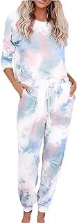 omniscient Women Tie Dye Printed Pajamas Set Long Sleeve Tops and Pants Joggers PJ Set Loungewear Sleepwear