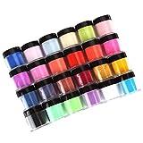 Gel Powder for Nails - 24 Colors Acrylic Nail Art Tips Uv Gel Powder, Nail Art Makeup Decoration Powder Design Decoration 3D Manicure (A (24pcs))