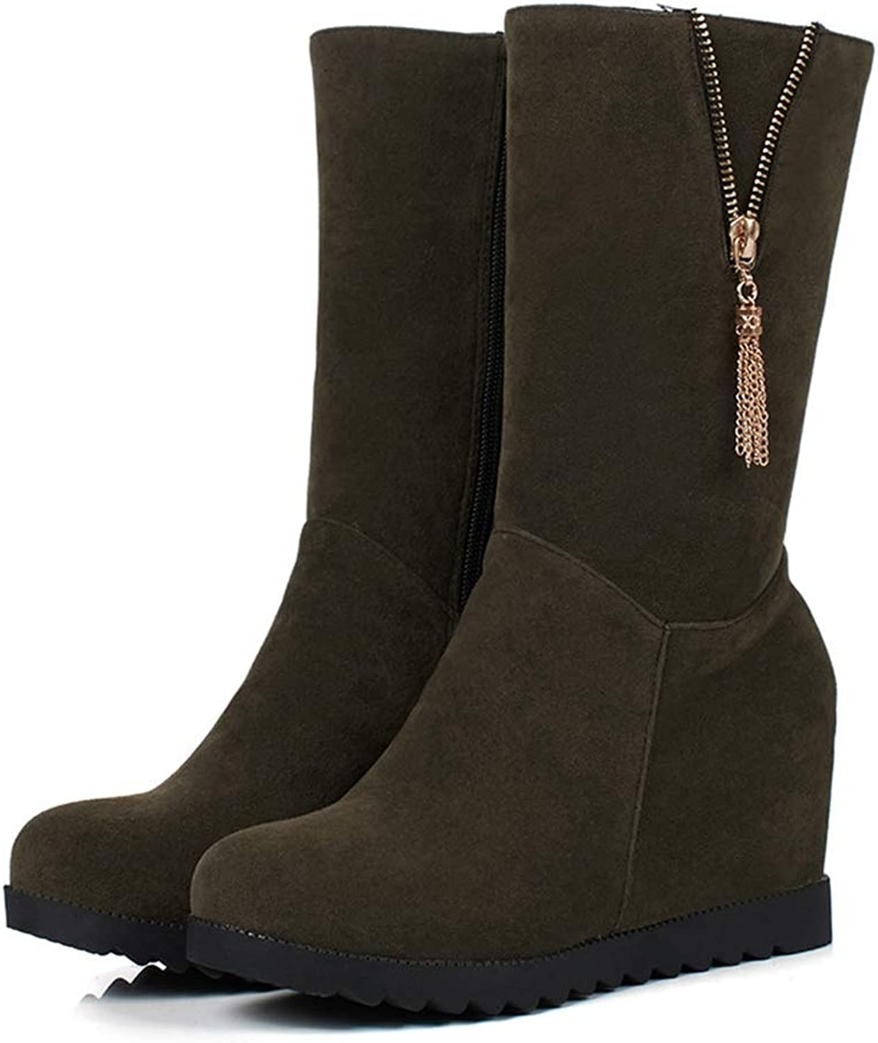 Female Soft Fashion Winter Snow shoes Platform Round Toe Mid Calf Boots for Women Height Increasing Zipper Half Boots