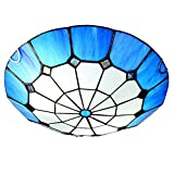 CCSUN Stile Tiffany Blu Plafoniera Da Soffitto,40cm E27 Vetro Faretti Da Soffitto,risparmio Energetico Creativo Lampada Da Soffitto,interna Lampada Blu 40cm