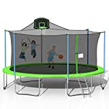 steelway 16FT Trampoline with Safety Enclosure Net, Basketball Hoop and Ladder, Large-Scale Trampoline for Kids/Adluts Family Jumping Outdoor Workout, Green