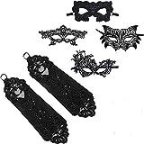 6 Piezas Mascaras Venecianas para Mujer Guantes,ZEEREE Mascaras Venecianas Guantes,Mascarada para Veneciano Carnaval Fiesta de Baile