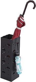 15.5 lyrlody Porta Ombrelli in Metallo,Portaombrelli Stand in Ferro,Scolapioggia Rimovibile con Gancio Vassoio di Scarico Staccabile,Nero,49 15.5cm