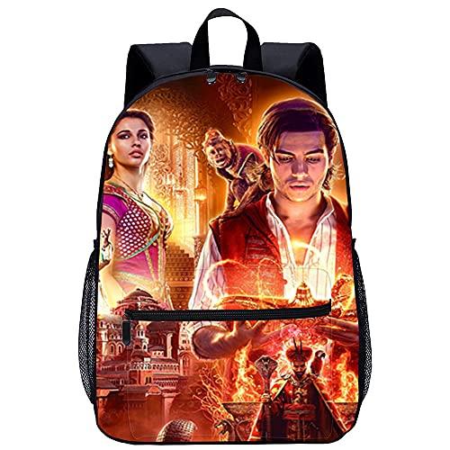 KKASD Póster de Aladdin, mochila impresa en 3D, mochila informal, mochila de moda para niños, 45x30x15cm, mochila para niños adultos