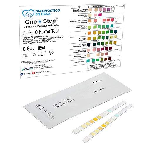 20 x Tiras Reactivas Examen Análisis Orina 10 Parámetros: Leucocitos, Nitritos, Urobilinógenos, Proteínas, pH, Sangre, Densidad, Cetonas, Bilirrubina y Glucosa - Test Infección Orina