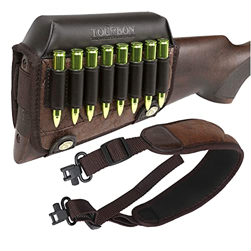 TOURBON PU Leather Cheek Rest Pad Ammo Carrier and Gun Sling with swivels