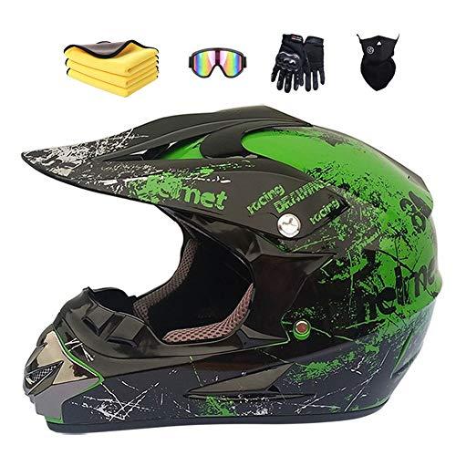 Motorradhelm,Motocross Helm,Helm Kinder,Helmets Kinder-Cross-Helm, Road Helm mit Handschuhe Maske Brille, ATV Helm,MTB green,57-58cm