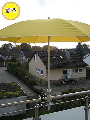 Pour parasols d'un 25,5 jusqu'à 42 mm de diamètre - 2 balcons-distance support-de parasol pour balcon ou pour l'extérieur fixation intérieure à 11 6 cm de distance de parapluie holly-breveté pour fixation rond ou des angles à 2 éléments : env. 55/60 mm avec 5 prises mULTI-support réglable pivotant à 360° avec kratzfreien gUMMISCHUTZKAPPEN pour fixer le support pivotant 360 °f à distance pour abat-jour de baguettes de 25,5 à 42 mm de avec inscription diamètre de manche 13 cm et profond de 11 bec 6 cm-filetage longue distance-axe-innovation fabriqué en allemagne-holly ® produits sTABIELO-holly-sunshade ® sCHIRMEN à sur - 2,5 cm de diamètre - 2 supports et 2 te utiliser pour des raisons fixation de sécurité (kabelbinder)